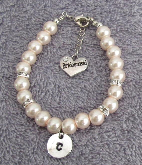 Bridesmaid Bracelet, Bridesmaid Gift, Personalizes Bracelet, Wedding Bracelet, Maid of Honor Gift, Soft Pink Bracelet Free Shipping In USA