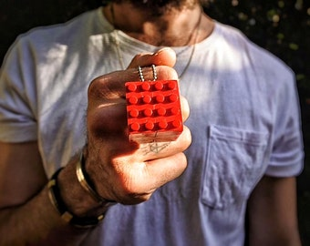 Red LEGO cube necklace - 6 x 2x4 red LEGO brick cube pendant charm - Cubism series