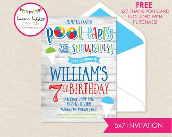 Summer Birthday, Pool Party Birthday Invitation, Snow Ball Invitations, Pool Party Birthday Decorations, Lauren Haddox Designs