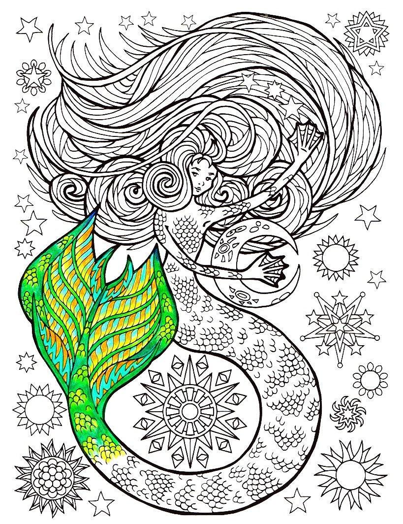 Mermaid Coloring Page: Mermaid of the Moon printable adult