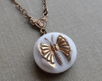 Little Butterfly, Necklace made with Vintage German Glass Button, Brass Ox, White with Gold Highlights