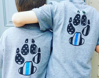 youth bark the blue tshirt; thin blue line kids shirt; youth police shirt; police k9 relief fund shirt