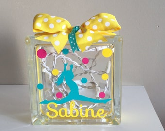 Girls Customized/Personalized Gymnastic/Tumbling Lighted Glass Block Nightlight (6-inch)