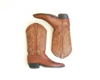 Vintage Mens 9d Justin Cowboy Boots Riding Boots Brown Leather Pull On Tall Riding Boots Boot Moto Motorcycle Southwestern Country Western