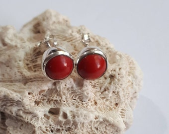 Coral stud earrings set in 92.5 sterling silver