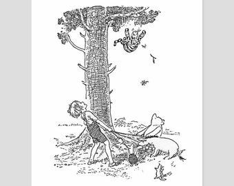 "Black and White Nursery Print (Tigger Birthday, Winnie the Pooh Art, Classic Book Baby Shower) Pooh Bear Artwork ""Tiggers Can't Climb Trees"""
