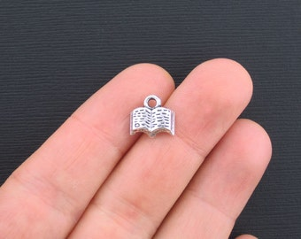 8 Book Charms Antique Silver Tone Cute Little Open Book - SC1299