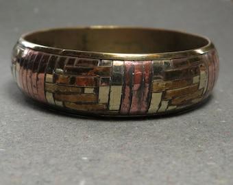 Mixed Metal Bangle Bracelet Vintage Woven Metal Brass Copper Bracelet