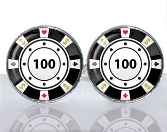 Poker Chip black white Round Glass Tile Cuff Links CIR188
