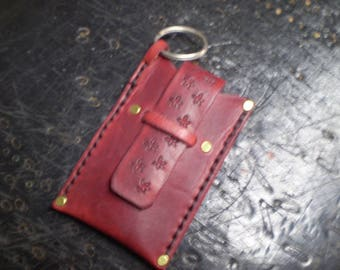 Small Cranberry Leather Case With Key Ring