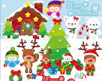 MERRY CHRISTMAS 1 Christmas Clipart, Polar Bear Clipart, Reindeer Clipart, Owls Clipart , Christmas Tree, Christmas House, Digital paper