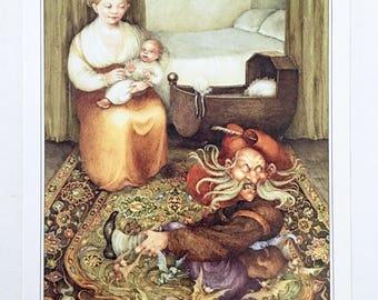Vintage Illustration / Nursery Rhymes / Grimm's Fairy Tales / Rumpelstiltskin / By Pauline Ellison / 1981 / Wall Art / Home Decor / nursery