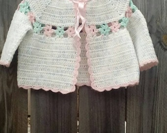 Handmade Crocheted Baby Girls Sweater Size  12- 18 months