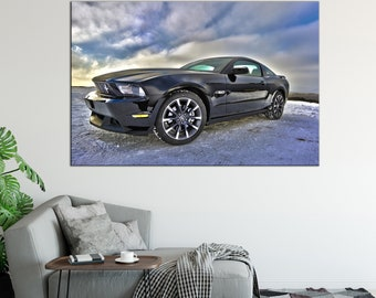 Ford Mustang on the snow Canvas Print wall art canvas print Ford Mustang sport car Wall Split Art Multi Panel Multi-Sized Canvas print
