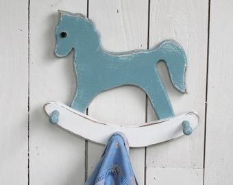 Wooden Rocking Horse Coat Rack, Baby Room Hanging Rack -  Shabby Robin's Egg Blue & Cream