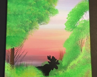Moose in Forest, Original 11x14 acrylic painting on canvas