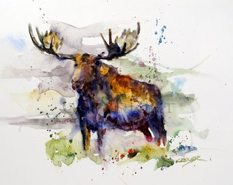 MOOSE Watercolor Nature Art Print by Dean Crouser