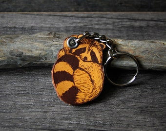 Baby raccoon - genuine leather keychain