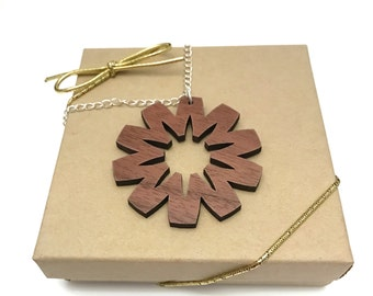 Walnut Wood Starburst Necklace, Laser Cut Necklace, Silver Chain