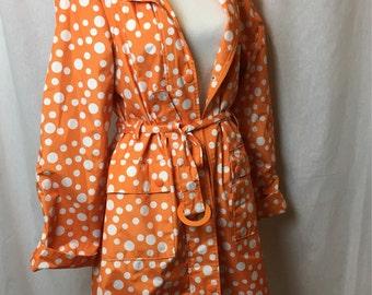 Dots raincoat / vintage raincoat / orange raincoat
