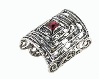 Red Garnet Ring, Sterling Silver, Celtic Garnet Ring,  Silver Celtic Ring, January Birthstone, Birthstone Jewelry, Promise ring, handmade