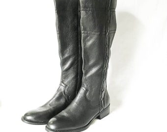 Knee high boots size 7 M - Black leather boots - White Mountain boots - Leather chelsea boots - Women's 7 boots