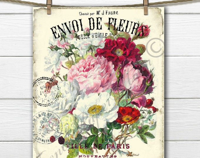 Vintage Digital Shabby Flower Bouquet, Watercolor flowers, French Digital Pillow transfer Graphic