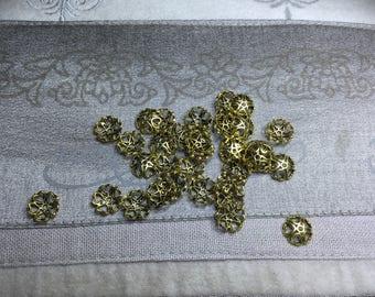20 Pcs. Filigree Bead Caps Antique Gold 10mm
