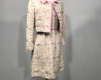 Vintage 60s  linen  neutral brocade floral Alice Jane Dows pink suite cropped waist  jacket sleeveless dress