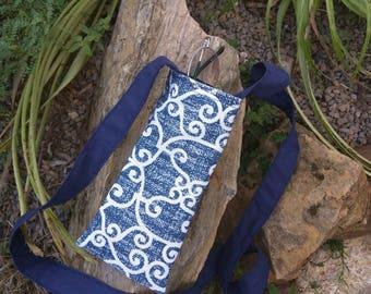 Glasses shoulder bag, handmade glasses case long strap bag, blue glasses pouch abstract bag small shoulder bag, glasses case cross body bag