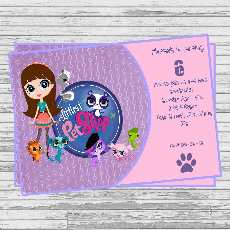 Littlest Pet Shop DIGITAL Birthday Invitation.