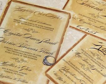 NEW! Vintage Parchment Wedding invitations. Classic Vintage wedding invitations. Antique parchment style wedding invitations