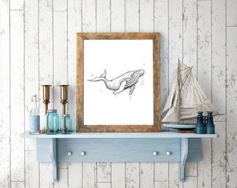 Whale Handmade Drawing, Digital Print, Art Print, Made in pencil, charcoal and ink, Tattoo Sketch, Tattoo Flash