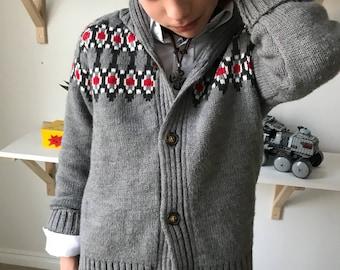 Zack - Gray knit - boy Cardigan