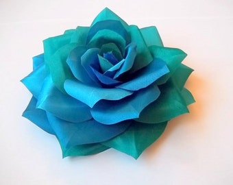 Seablue Seagreen Turquoise Rose Silk Flower Brooch and/or Hair Pin