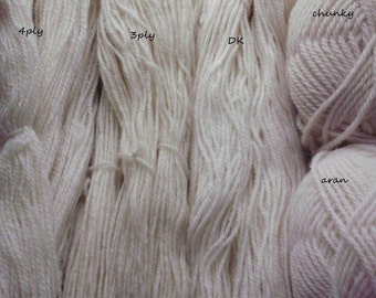 Natural undyed organic wool from our flock of Lleyn sheep to use for knitting, crochet or for home-dyeing.