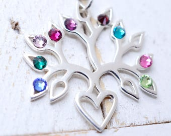 Family Tree Birthstone Necklace, Birthstone Necklace for Grandma, Mothers Day Gift, Gift for Mom, Grandma Necklace, Family Tree of Life