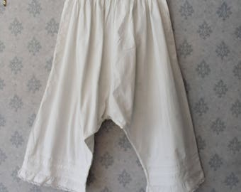 Vintage Victorian to Edwardian White Cotton Pintucked Lace Ruffled Bloomers or Pantaloons