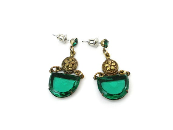 Victorian Style Earrings Czech Emerald Green Glass Half Moon Dangles, Pierced Ears