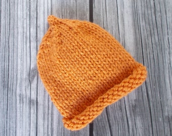 Orange Preemie Baby Hat Size 3 to 5 pounds Hand Knit Soft Pixie Hospital Hat Boy Girl Newborn Infant Shower Gift Child Beanie Cap Photo Prop
