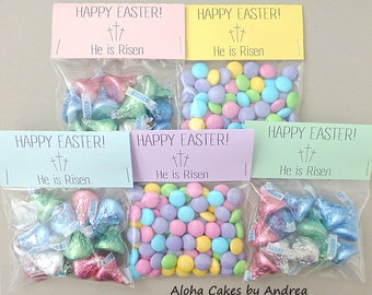 Happy easter bag topper easter basket filler classroom gift he is risen happy easter bag topper easter basket filler sunday school gift easter party favor ideas kids easter gift set of 10 negle Gallery