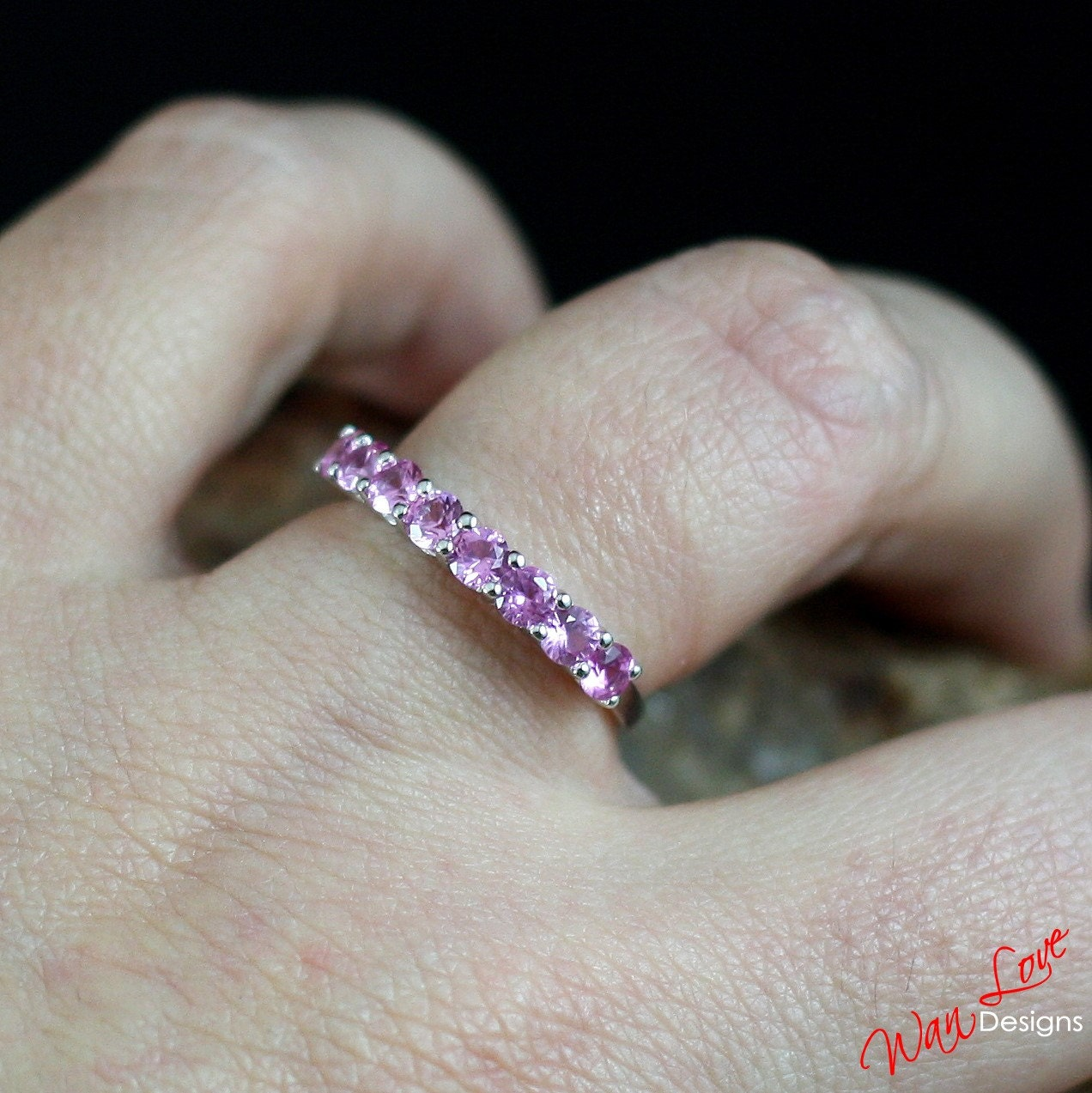 Pink Sapphire Wedding Band Ring Eternity Stackable Round