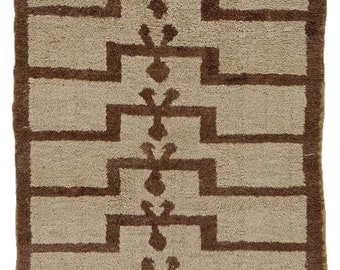 Carpet Prayer Tulù Turkey by nomadic tribes knotted by hand in brown and Beige wool
