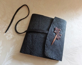 Roses & dagger sword crested leather mini journal notebook, one of a kind blank book journal made in USA, vintage leather purse size book