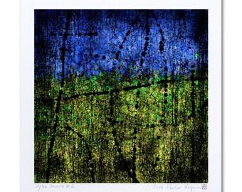 """Green Blue Art Abstract Drawing """"Guerre #2"""" Art Print, Abstract Wall Art Prints, Abstract Giclee Art Print Making, Digital Artwork"""