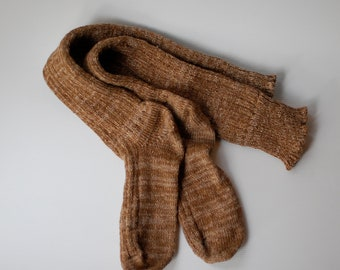 Handcranked Knee High Boot Socks Oatmeal Natural Variegated Wool Cotton