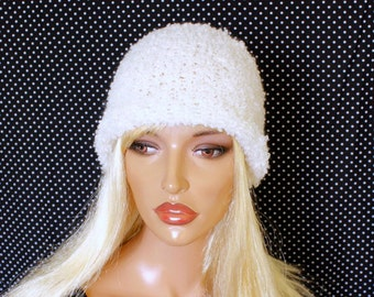 Knitted hat  Knitted cap  White cap wool boucle Knitted woman hat