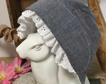 Denim Bonnet ~ Bonnet with Brim ~ Baby Bonnet ~ Bonnet with Ruffle Brim ~ Reversible ~ Toddler Bonnet ~ Brimmed Bonnet ~ Baby Gift ~ Bonnets