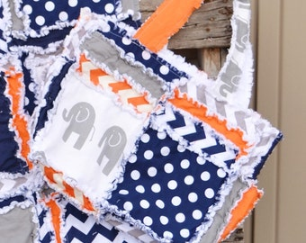 Elephant Purse - Navy / Gray / Orange Elephant Diaper Bag - Chevron Diaper Bag - Baby Boy Diaper Bag - Large Diaper Bag - Rag Quilt Purse