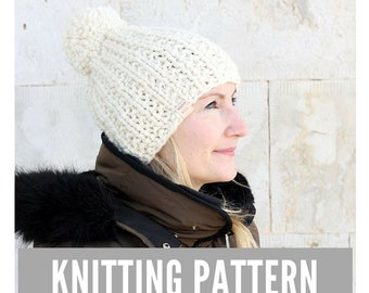 Knitting Pattern / Easy knit hat with pom pom / Winter hat pattern / Easy knitting pattern / Ski Hat